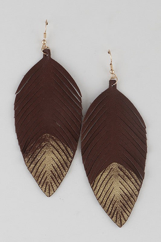Gold Dipped Leather Feather Earrings - Enclothe Boutique