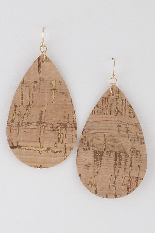 Cork Teardrop Earrings - Enclothe Boutique