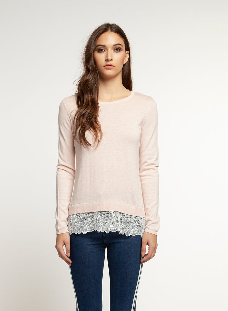 Blushing Babe Lace Trim Sweater - Enclothe Boutique