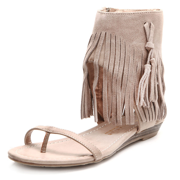 Fringe Sandals in Taupe - Enclothe Boutique