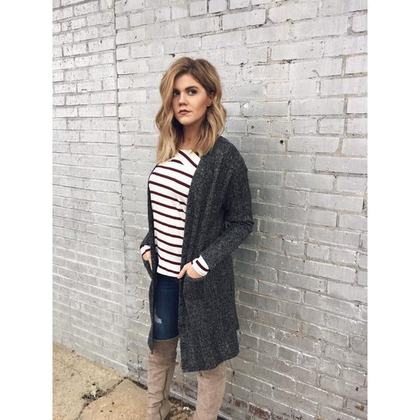 Long Button Cardigan with Faux Suede Elbow Patch