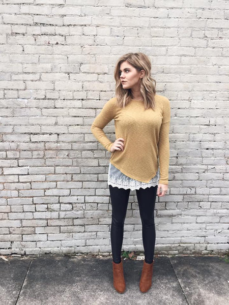 Crossed Paths Lacey Hem Pullover