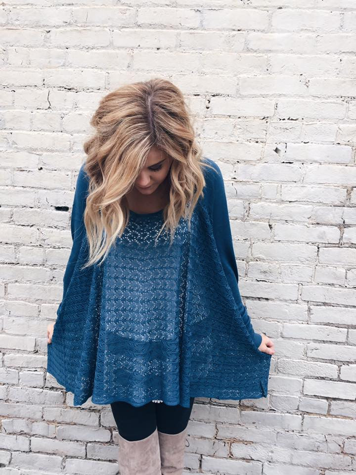 Lightweight Two Fit Knit Cardigan  in Teal - Enclothe Boutique
