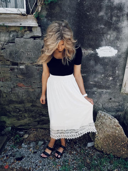 Smocked Waist Crochet Midi Skirt