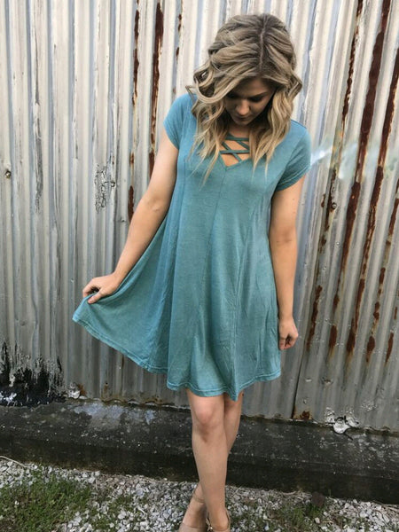 Crossroads Dress in Dusty Jade