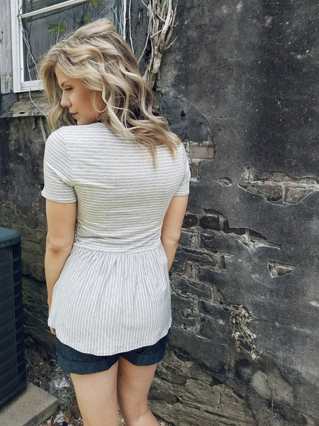 Peplum Back Knit Tee
