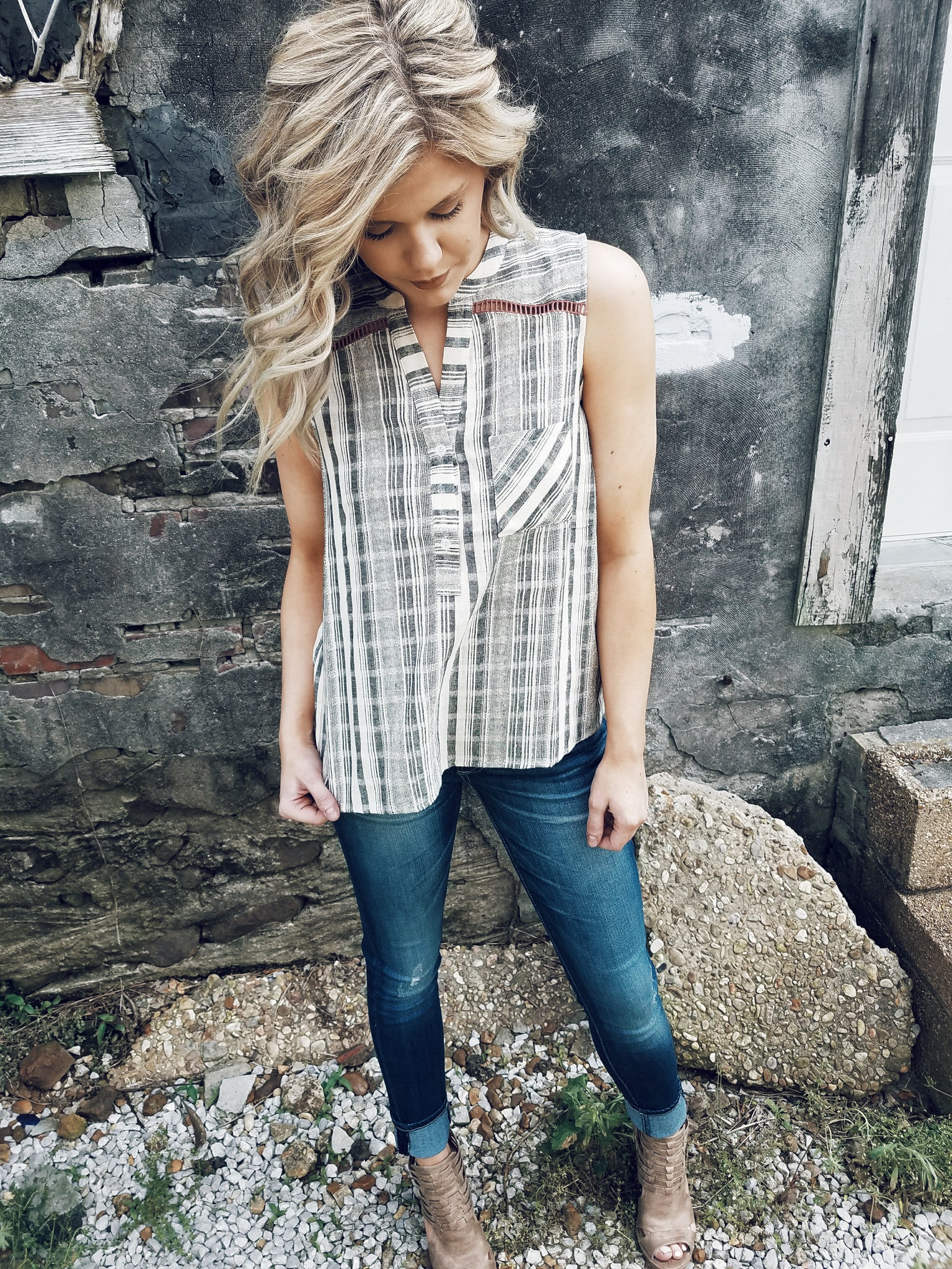 Sleeveless Striped Tunic - Enclothe Boutique