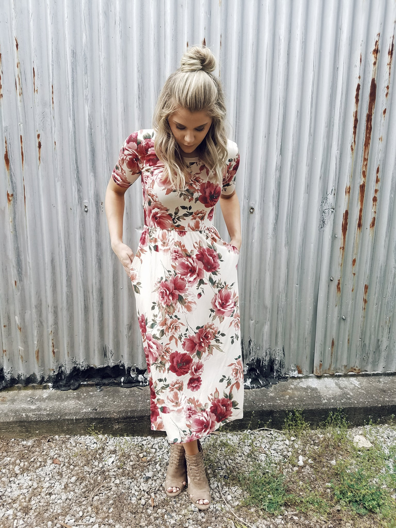 Stop and Smell the Roses Midi Dress