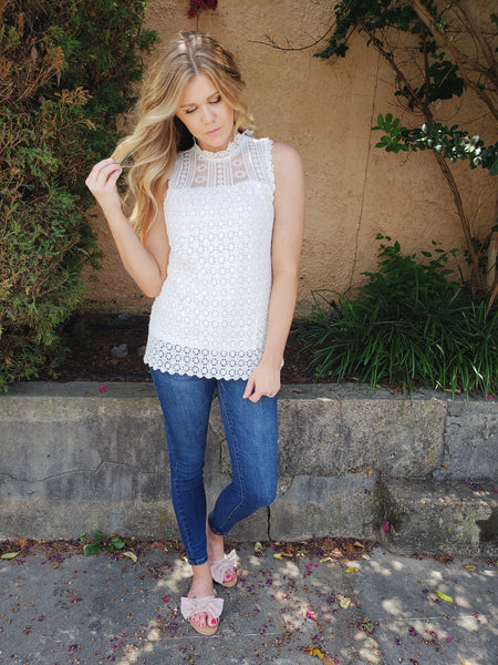 Crystal Lace Tank in White