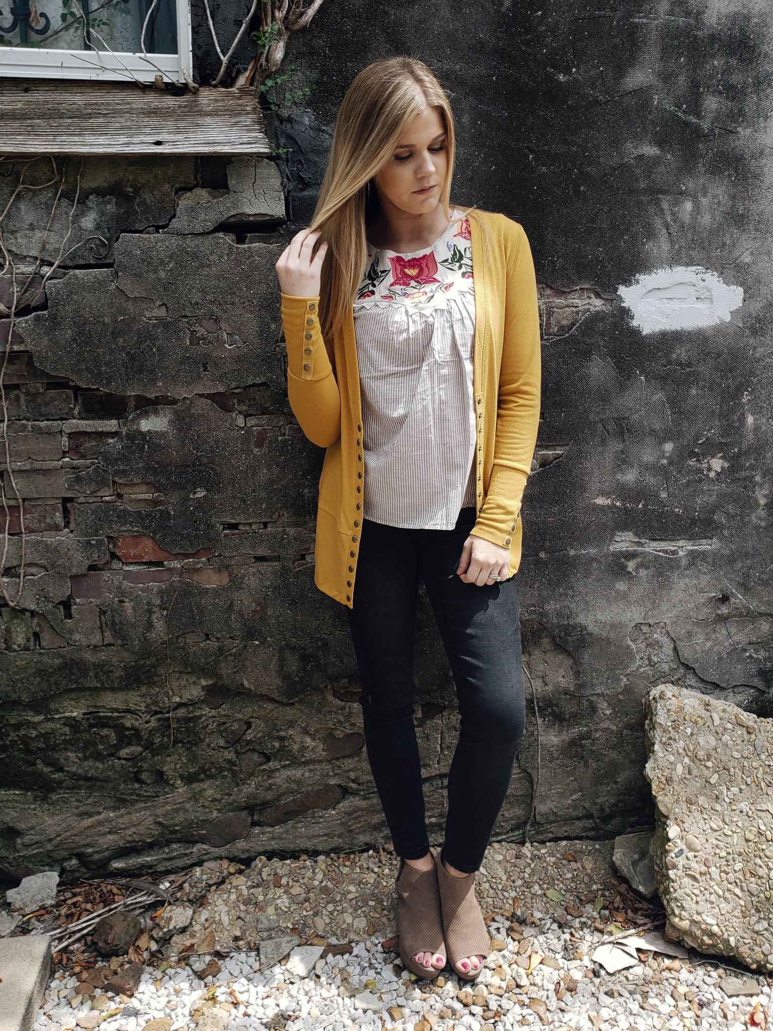 Queen of Jewel Tones Cardi in Mustard - Enclothe Boutique