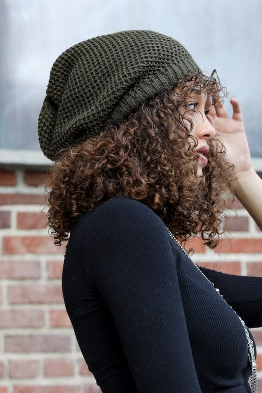 Slouchy Knit Beanie in Olive - Enclothe Boutique