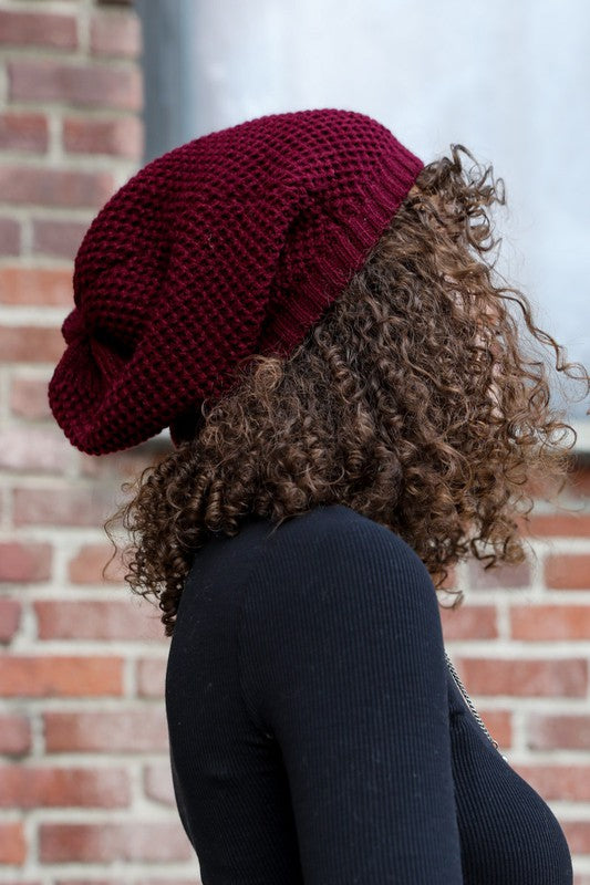 Slouchy Knit Beanie in Burgundy - Enclothe Boutique