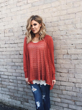 Lightweight Two Fit Knit Cardigan in Spice