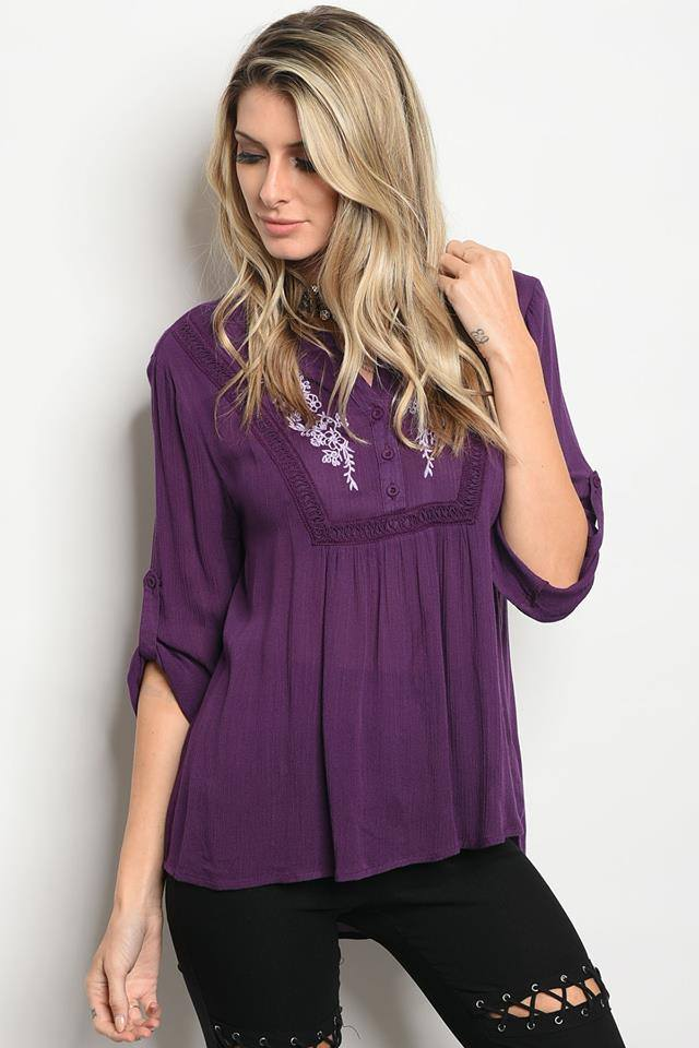 Purple Embroidered Top - Enclothe Boutique