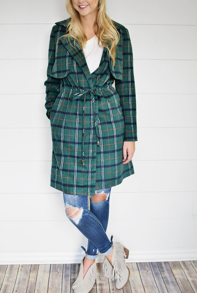 Green Plaid Jacket - Enclothe Boutique