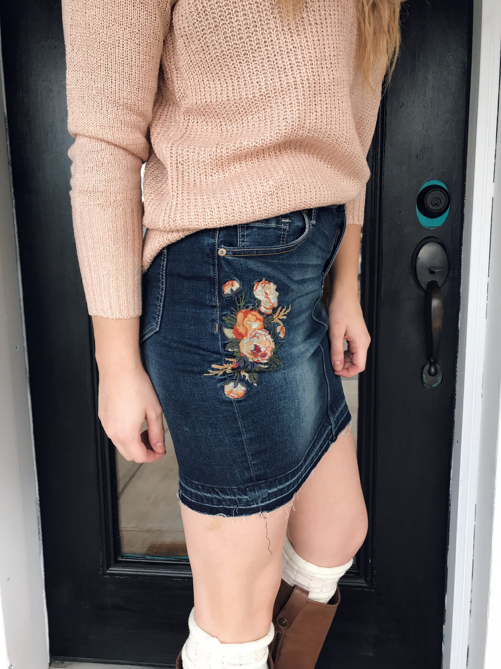 Denim Flowers Skirt - Enclothe Boutique