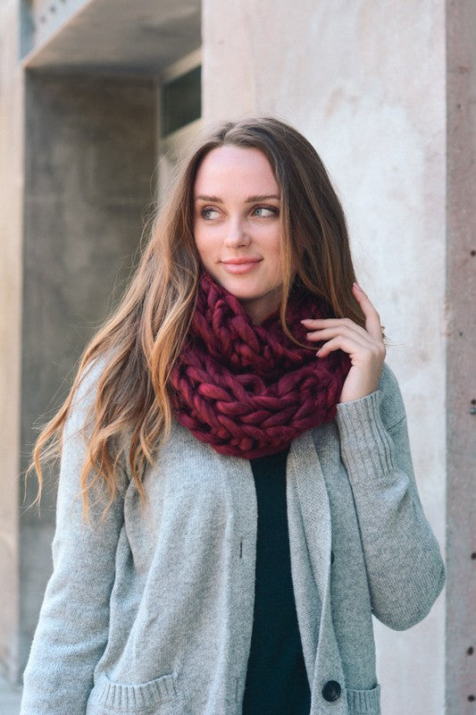 Ultra Soft Chunky Knit Scarf in Burgundy - Enclothe Boutique