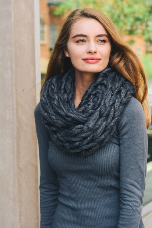 Ultra Soft Chunky Knit Scarf in Charcoal - Enclothe Boutique