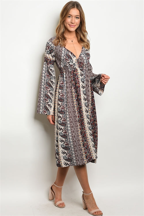 Bohemian Rhapsody Midi Dress - Enclothe Boutique