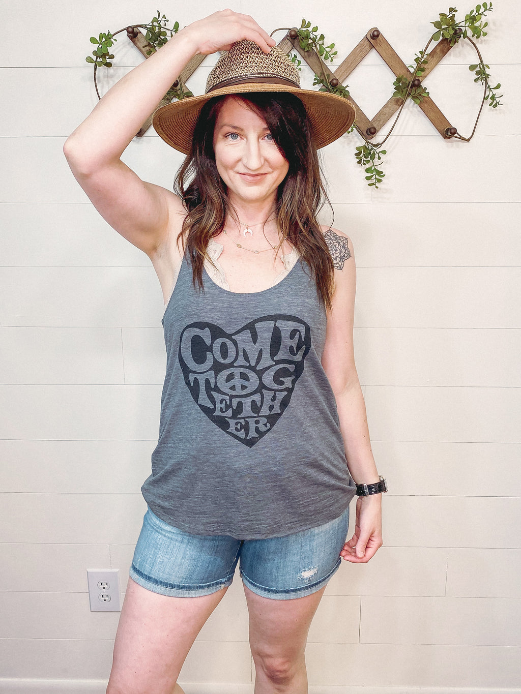 Come Together Swing Tank in Gray Slub Knit - Enclothe Boutique