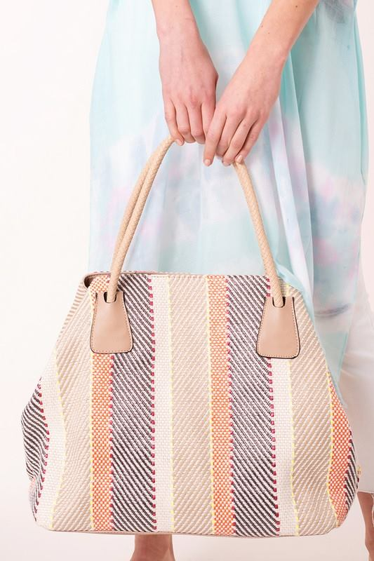 Striped Woven Duffel Bag - Enclothe Boutique