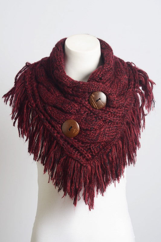 Heathered Fringe Shoulder Warming Scarf in Burgundy - Enclothe Boutique