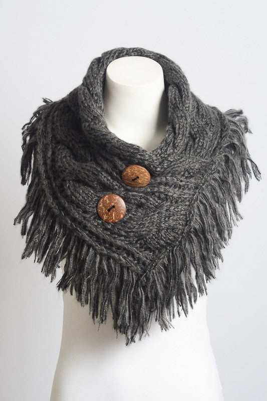 Heathered Fringe Shoulder Warming Scarf in Charcoal - Enclothe Boutique
