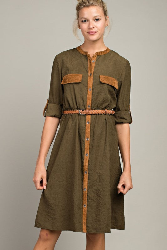 Canopy of Leaves Suede Dress - Enclothe Boutique