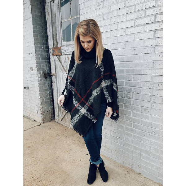 Cowl Neck Poncho in Black Plaid