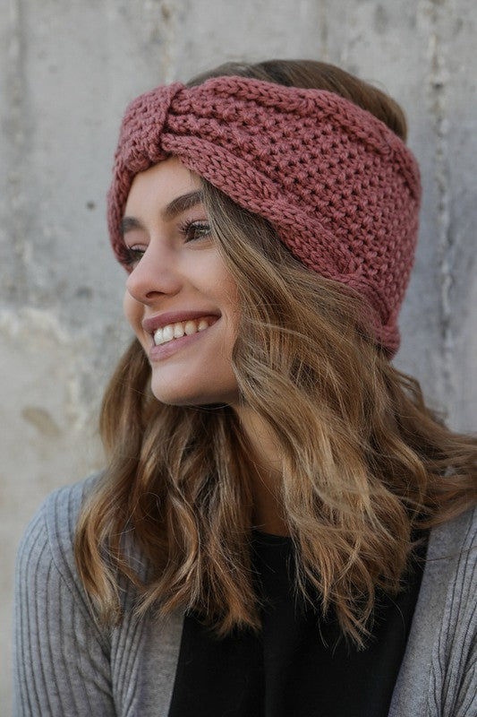 Rolled Bow Knit Headband in Rose - Enclothe Boutique