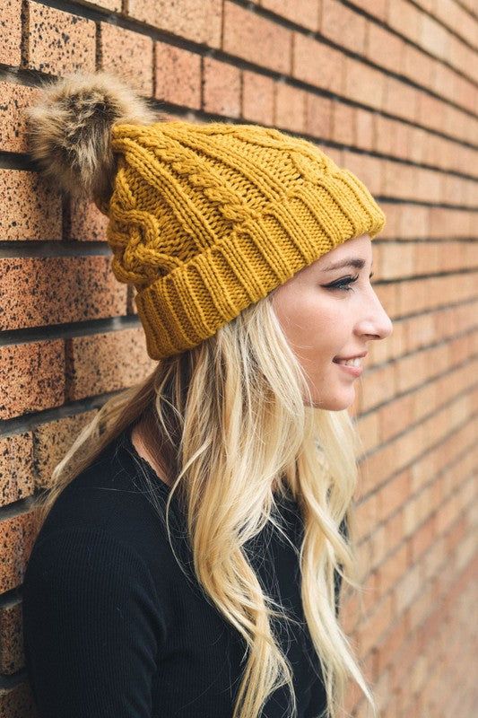 Pom Beanie in Mustard - Enclothe Boutique
