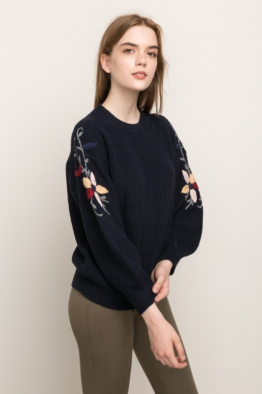 Mystree Embroidered Sleeve Sweater - Enclothe Boutique