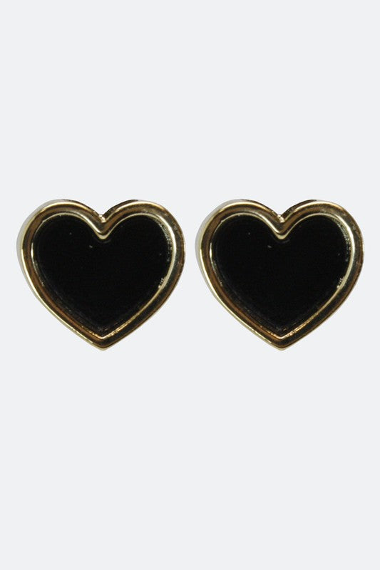 Filled With Love Heart Studs in Black - Enclothe Boutique