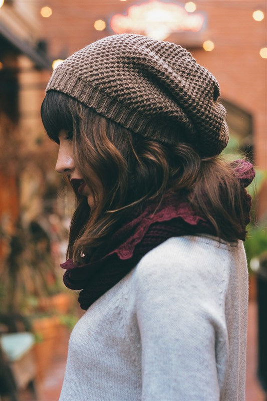 Slouchy Knit Beanie in Mocha - Enclothe Boutique