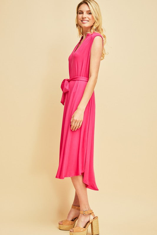 Favorite Knit Midi Dress in Pink - Enclothe Boutique