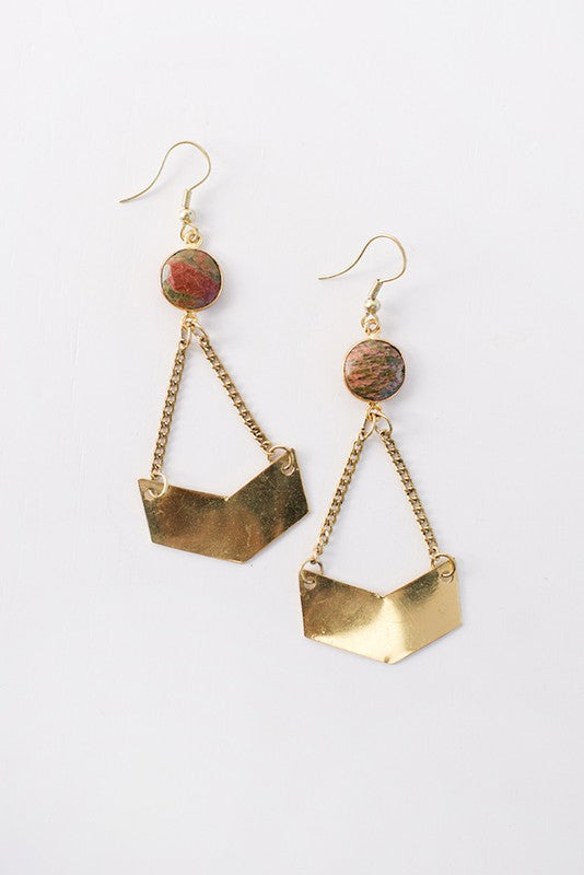 Chevron and Stone Drop Earrings - Enclothe Boutique