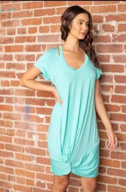 Twist Front T-Shirt Dress in Mint - Enclothe Boutique
