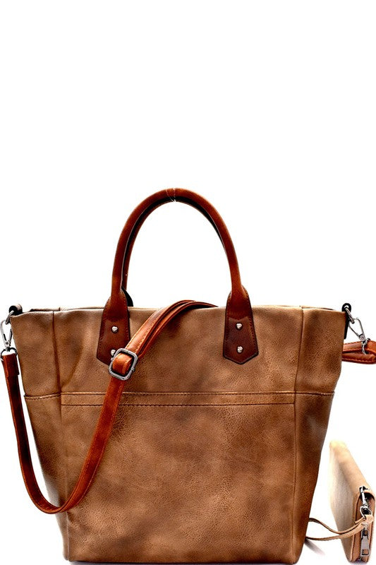 Two-Tone Rustic 2 Way Tote - Enclothe Boutique