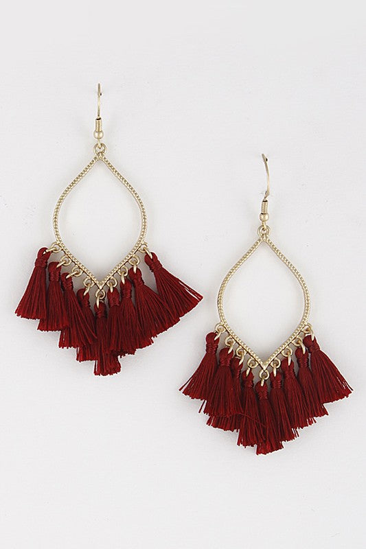 Chandelier Tassel Earrings in Burgundy - Enclothe Boutique