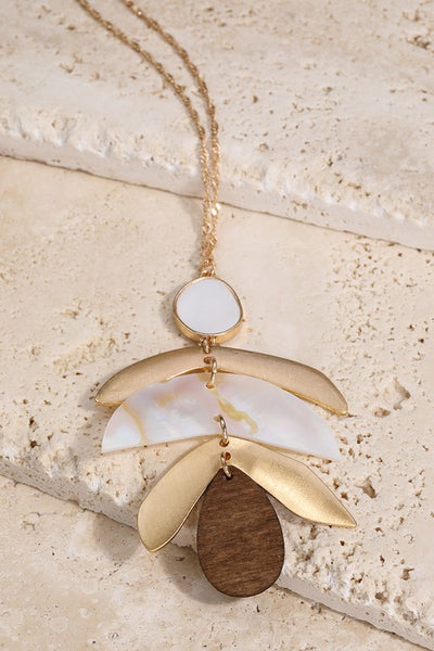 Shell and Wood Necklace Set - Enclothe Boutique