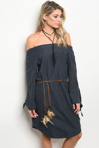 Christy & Co. Navy off the Shoulder Dress - Enclothe Boutique