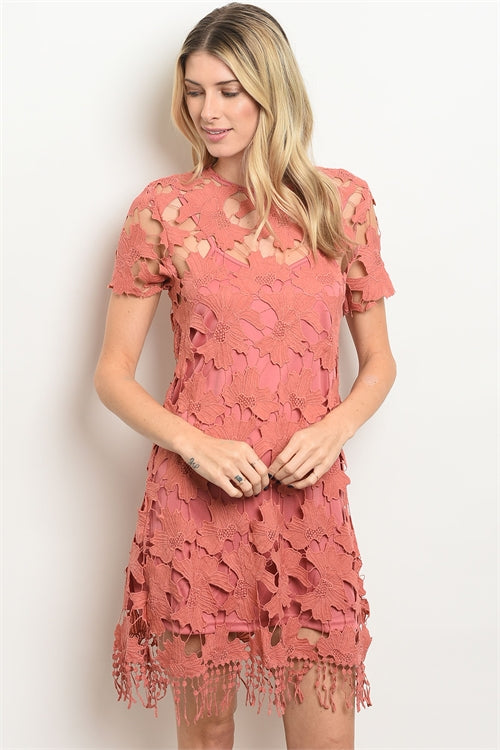 Pink Crochet Dress - Enclothe Boutique