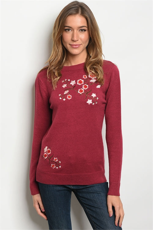 Sweet Claire Embroidered Sweater Burgundy - Enclothe Boutique