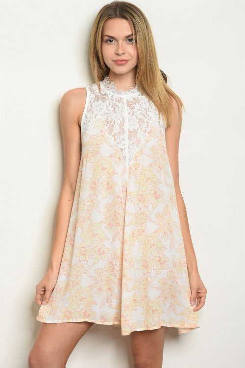 Yellow Floral Lace Dress - MD Sale - Enclothe Boutique