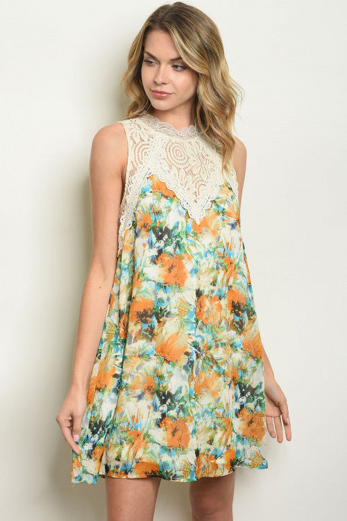 Watercolor Crochet Dress - Enclothe Boutique