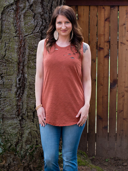 Tattered Tank in Rust - Enclothe Boutique
