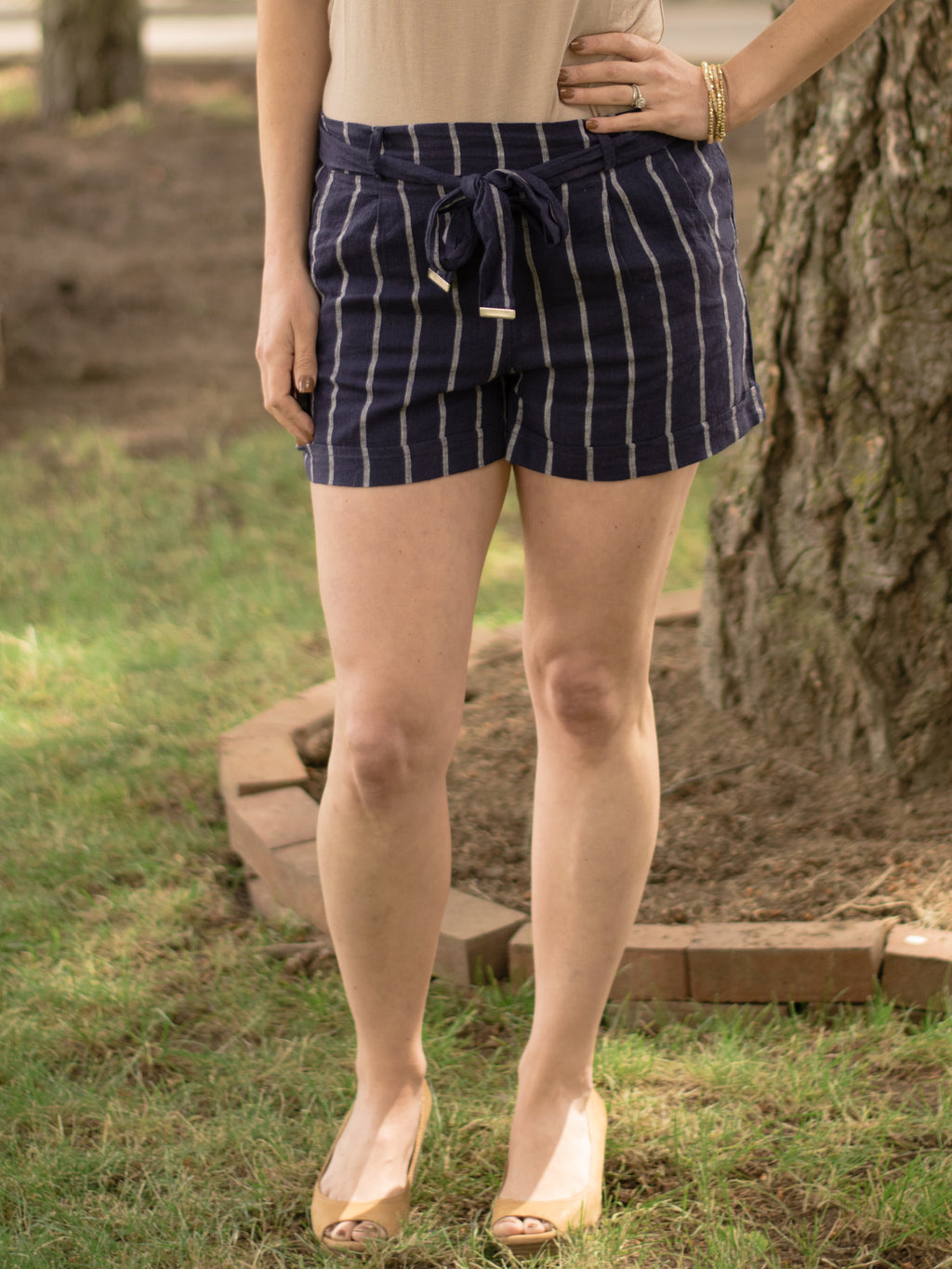 Striped Linen Shorts - Enclothe Boutique