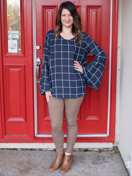 Window Panes Bell Sleeve Blouse - Enclothe Boutique