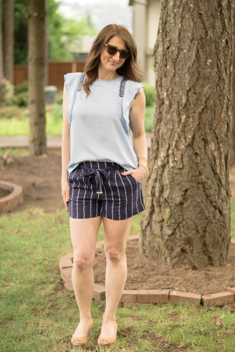 Chambray Cutie Embroidered Blouse - Enclothe Boutique