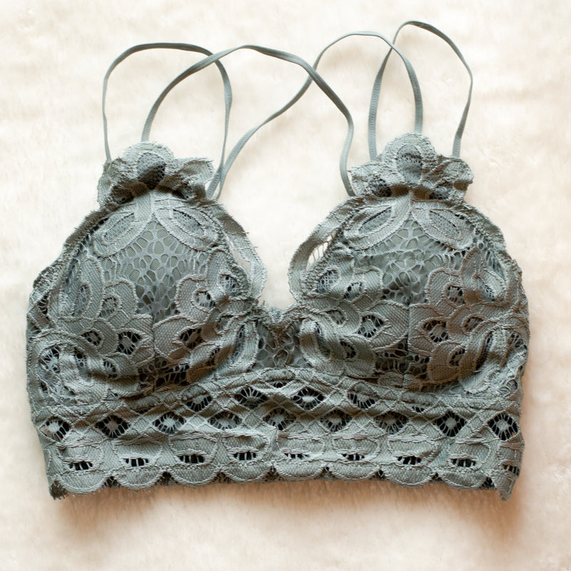 Queen's Lace Bralette in Teal Grey - Enclothe Boutique